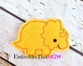 Triceratops Feltie Embroidery Design File