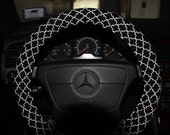 Classic Cover Wheel . Steering Wheel Cover . Moroccan Black nd White .