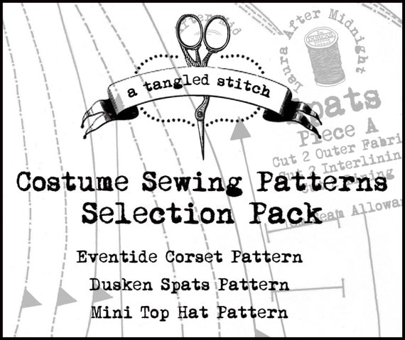 Costume Sewing Patterns Selection Pack inc. Victorian Corset, Steampunk Burlesque Mini Top Hat and Steampunk Spats