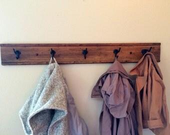 five hook reclaimed wood coat rack // towel rack