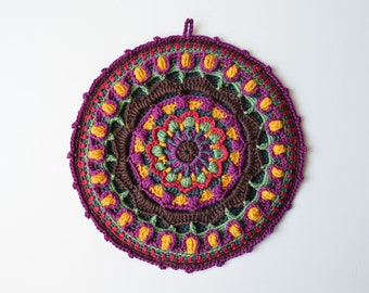 Overlay Crochet Pattern - PDF Crocheted Potholder - Colorful Lace Mandala - instant download