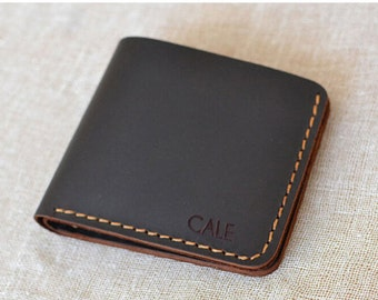 Personalized Handmade wallet Mens leather wallet Hand sewing Brown bifold wallet leather wallet #W01p
