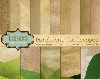 Old Paper Parchment Texture Landscapes - Vintage Grunge Scrapbook Paper Pack, Printable Paper Textures Instant Download Commercial Use