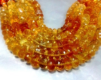 """AAA natural citrine faceted rondelle beads 8mm-9mm 8""""inches"""