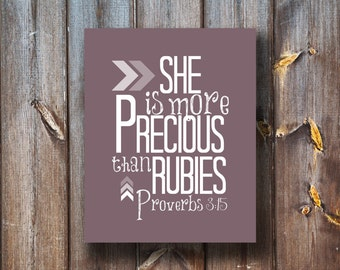 She Is More Precious Than Rubies - Verse Print - Instant Download - Typography - Printable