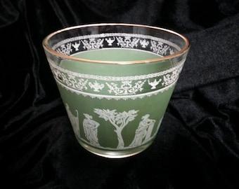 Vintage Jeanette Glass Hellenic Grecian Wedgewood Green Ice Bucket