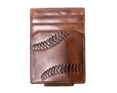 Men's Wallet - Leather Wallet - BASEBALL Embossed Magnetic Front Pocket Wallet