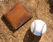 BASEBALL DOUBLE I.D. Bifold Embossed Leather Wallet -  PERSONALIZED Leather Wallet - Men's Gifts -  Baseball Wallet