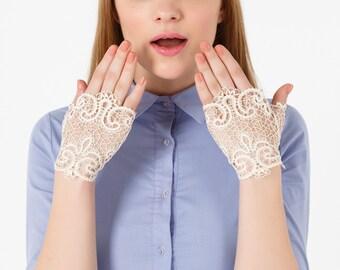 "Bobbin Lace Mitts ""Tender""  bobin lace russian lace handmade lace"