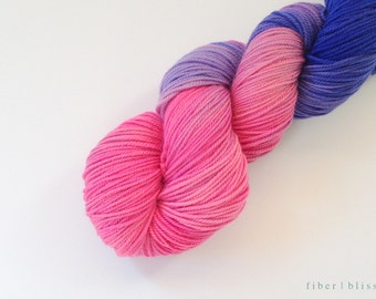 Hand Dyed Superwash Merino Sport Yarn, 3-ply -- Pink Purple Yarn
