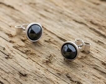 Haematite Earrings - Haematite Stud Earrings - Black Studs - Black Haematite Stud Earrings - Sterling Silver Haematite Post Earrings