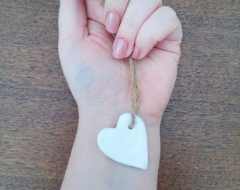 White Heart Charm Wedding Favours