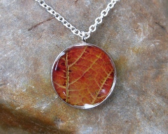 Real Autumn Leaf Necklace