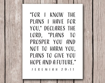 Bible Scripture Print Bible Verse Decor Jeremiah 29:11 Nursery Decor Graduation Gift Art Print Best Friend Present Inspirational Christian