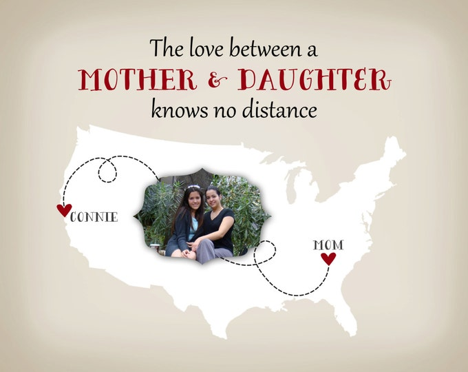 Mothers Day Poster, Wall Art Mother and Daughter, Long Distance Gift for Mom Personalized Photo State Map Custom Gift Idea for Mom, Grandma