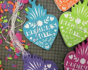 Papel Picado, Mexican Wedding Thank You Gift Tags, Fiesta, Corazon, Gracias Tag, Personalized, Paper Cut, Set of 12