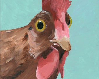Rooster art, rooster decor. Rooster print 'Wilson'  from original canvas painting.