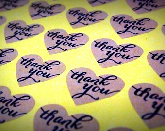 Vintage Heart Shaped Thank You Stickers, Labels, Envelope Seals, Favour Stickers