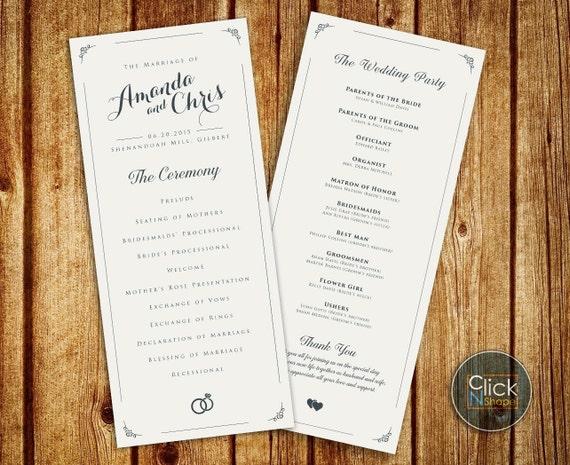 Unique Wedding Reception Program Ideas: Wedding Program // Elegant Wedding Program // By ClickNshape