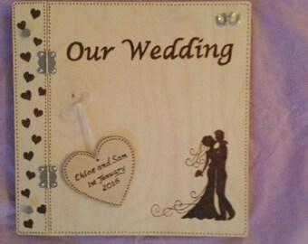 Personalised Pyrographed Wedding Album