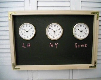 "Chalkboard Time Zone Wall Clock , The Original Time Zone Chalkboard  Clock,  Can Be Changed Anytime. 24"" X 12"""