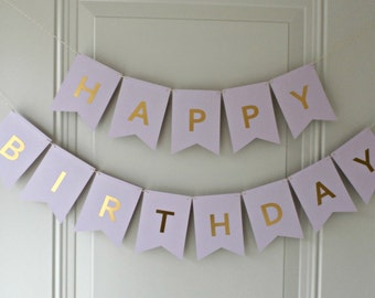 Happy Birthday Banner - Purple with Gold Foil Letters