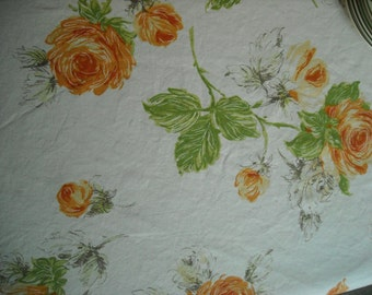 "Floral Blooms in Orange 54"" square tablecloth"