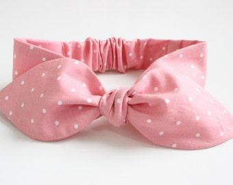 Baby girls headband - dusky pink pindots