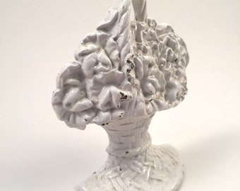 1987 Faroy White Flower Basket Cast Iron Door Stopper