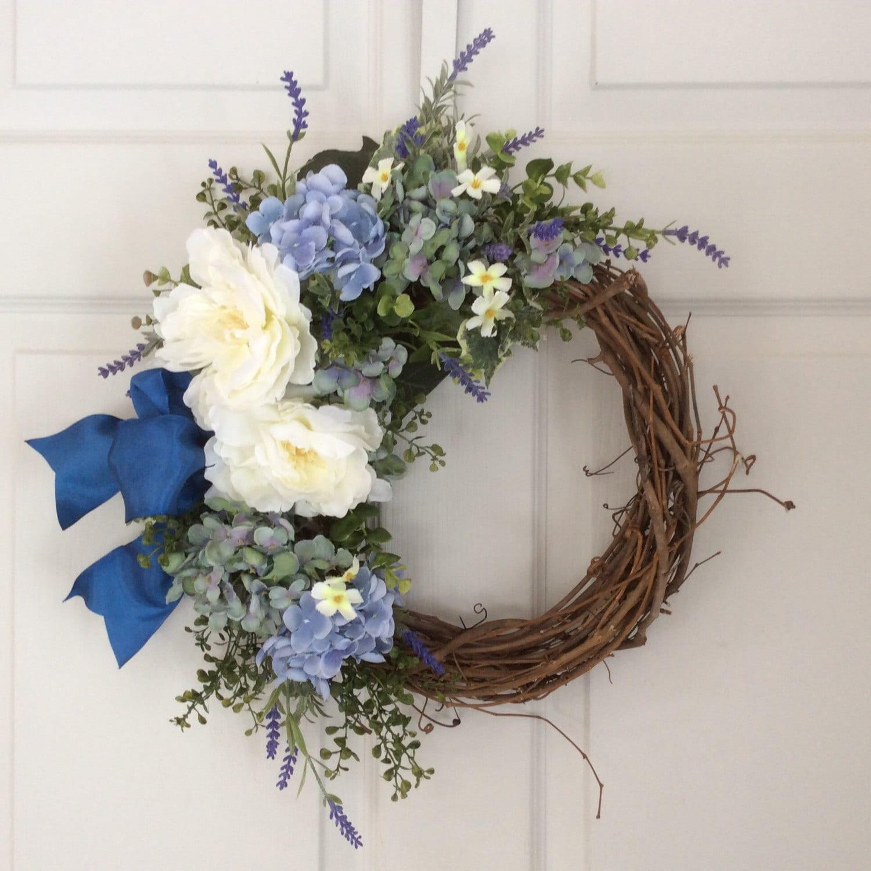 spring wreaths hydrangea wreath summer wreath front door. Black Bedroom Furniture Sets. Home Design Ideas