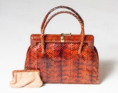 Stunning rare vintage snakeskin handbag and matching coin purse - 1930s 1940s brown-red genuine snakeskin bag with suede leather lining VLV