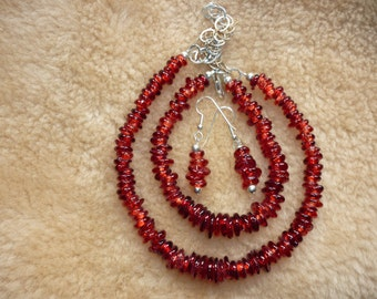 Red handblown boro bead necklace bracelet and earring set