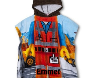 Emmet Construction Worker Hooded Beach Towel Poncho LEGO – Personalized