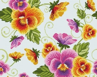 "Cross stitch pattern ""Pillow - Pansies"""