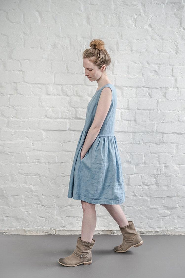Linen Dress Swedish Blue Linen Loose Dress By Notperfectlinen