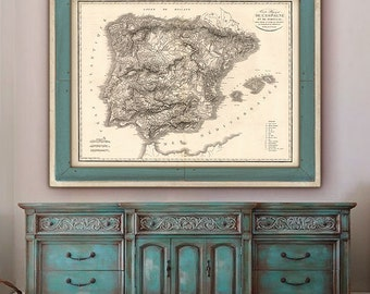 """Map of Spain and Portugal 1823 Vintage Spain map up to 48x36"""" (120x90cm) Large wall map of Iberian peninsula - Limited Edition of 100"""
