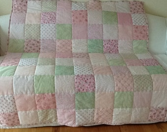 SALE  Shabby Chic Green and Pink Minky Lap Quilt, Throw Handmade 53 x 59 inches Free Shipping to Canada & USA