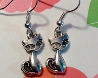 Little Kitty Silver Tone Dangle Earrings