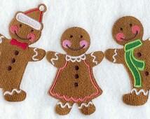 Gingerbread Christmas  Embroidered Flour Sack Hand/Dish Towel