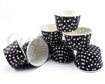 25 Black Polka Dot Candy Nut Treat Cups