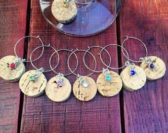 Cork wine glass charms (set of 8)