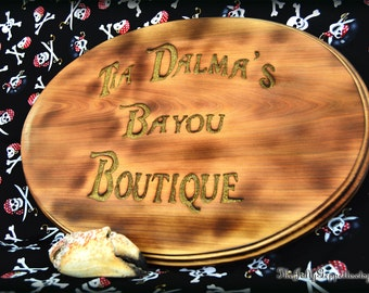 Tia Dalma Bayou Boutique Pirate Sign, Hand Carved and Lightly Burned Wood, Pirates of the Caribbean, by The Jolly Geppetto