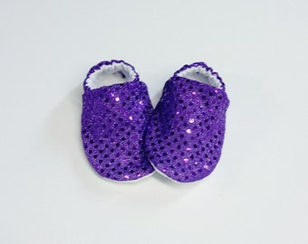 Handmade Soft Sole Baby Moccs / Moccasins / Booties / Crib Shoes / Slippers Purple Sequin