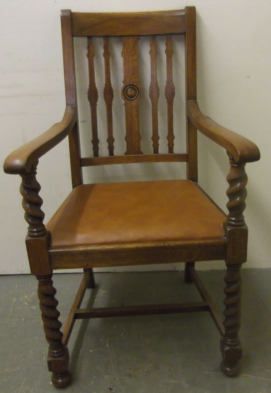 Marvelous photograph of Solid Oak Carver Chair with Barley Twist Features and Back Stamp  with #6A4924 color and 1034x1500 pixels