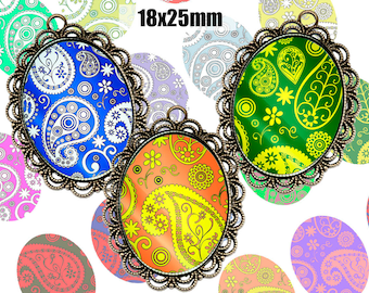 Digital Collage Sheet Paisley Ornaments 18x25mm Printable Oval Download for pendants magnets Cabochons jewelry