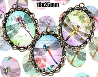 Digital Collage Sheet Shabby Chic Dragonfly 18x25mm Printable Oval Download for pendants magnets Cabochons jewelry