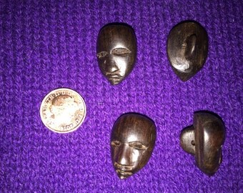 RARE 1960s Hand Carved Ebony African Mask Buttons