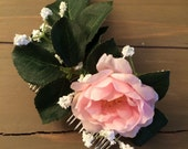 Pretty in pink - Pink rose silver hair slide