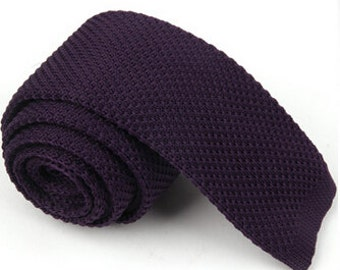 Dark Purple Knitted Ties.Mens Necktie.Purple Wedding Necktie.Groomsmen Necktie.Purple Mens Knitted Tie.