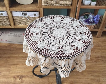 30% OFF ~ Hand crochet tablecloths, Round table cover, table topper, handmade tablecloths, vintage table topper for home decor
